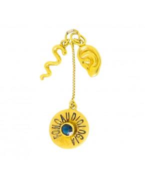 Pingente de profissão fonoaudiologia com pedra safira em ouro 18k - 0004257