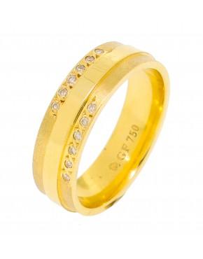 Aliança de casamento com 12 brilhantes - 0011338