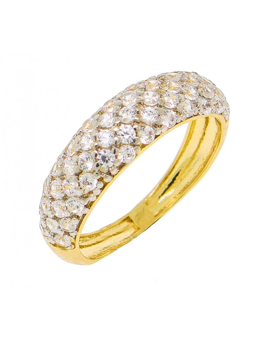 3193775086bd5 Anel de prata meia aliança com banho de ouro amarelo - A692