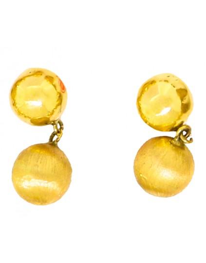 Brinco de bola fixa e pendurada brilho ou fosco em ouro 18k - 0025748