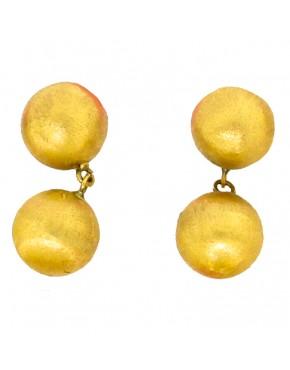 Brinco de bola fixa e pendurada brilho ou fosco em ouro 18k - 0025798