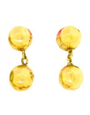 Brinco de bola fixa e pendurada brilho ou fosco em ouro 18k - 0025800