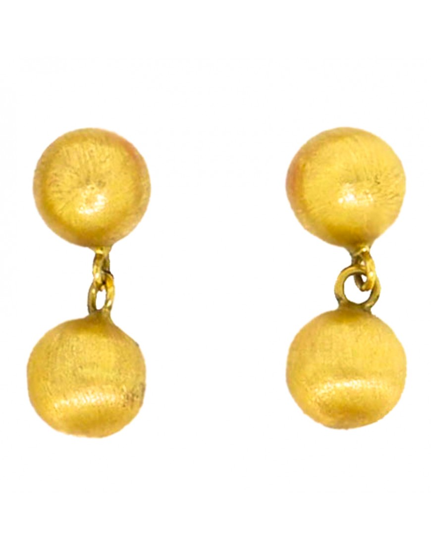 4b9583b0380ea Brinco de bola fixa e pendurada brilho ou fosco em ouro 18k - 0025800