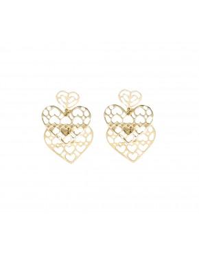 Brinco 3 corações - 0029397