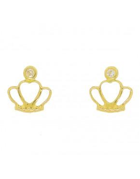 7c9a9cda7a28d Brinco coroa com pedra no centro em ouro 18 k - 0032940