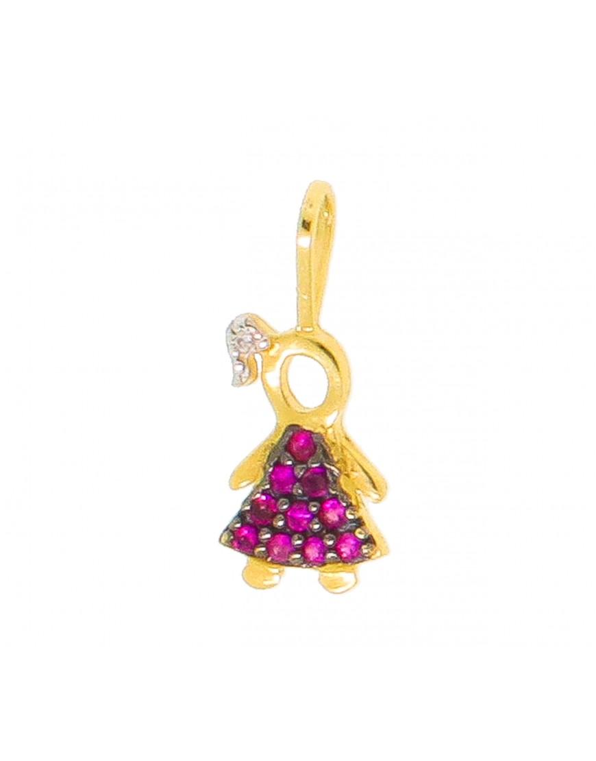 94680eb88c789 Pingente menina com pedras naturais brilhantes e rubi - 0016102