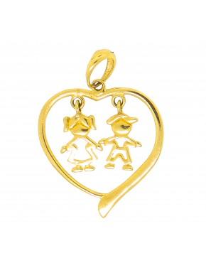 Pingente coração com dois elementos centro - 0017077 93db144bd0a4b