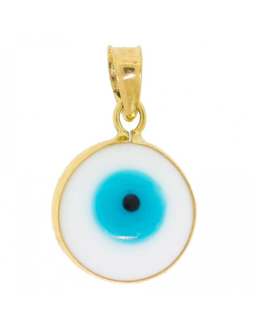 4361b55f7dd9f Pingente redondo olho grego em ouro 18k - 0017646