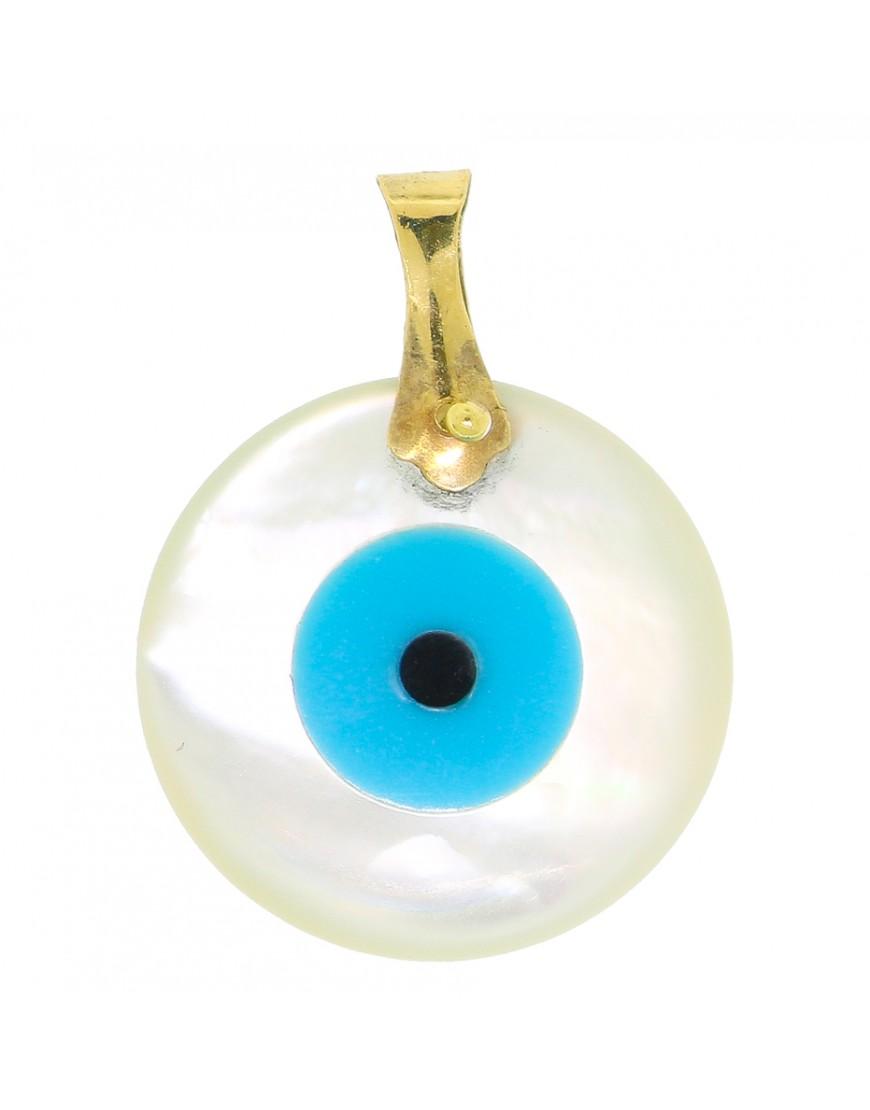 a43434d6926a6 Pingente redondo olho grego madrepérola em ouro 18k - 0026507