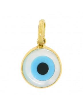 5dc191cccb8ca Pingente redondo olho grego madrepérola em ouro 18k - 0026507